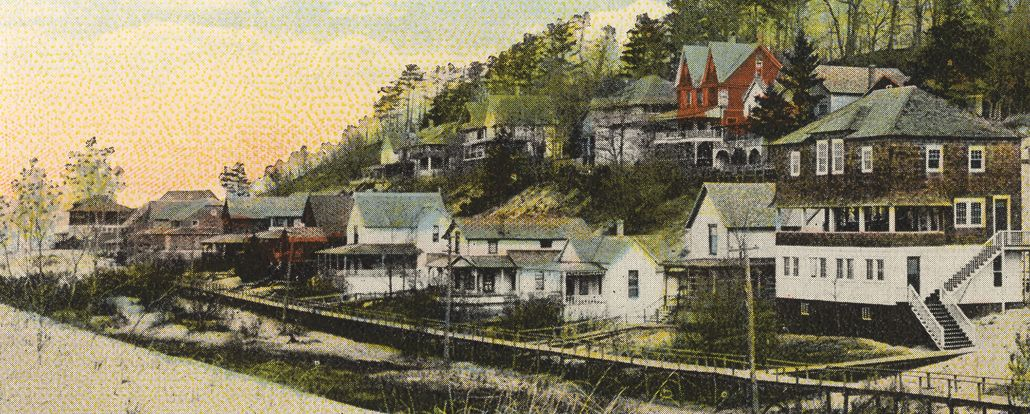 An early postcard view of the historic cottages of Ottawa Beach