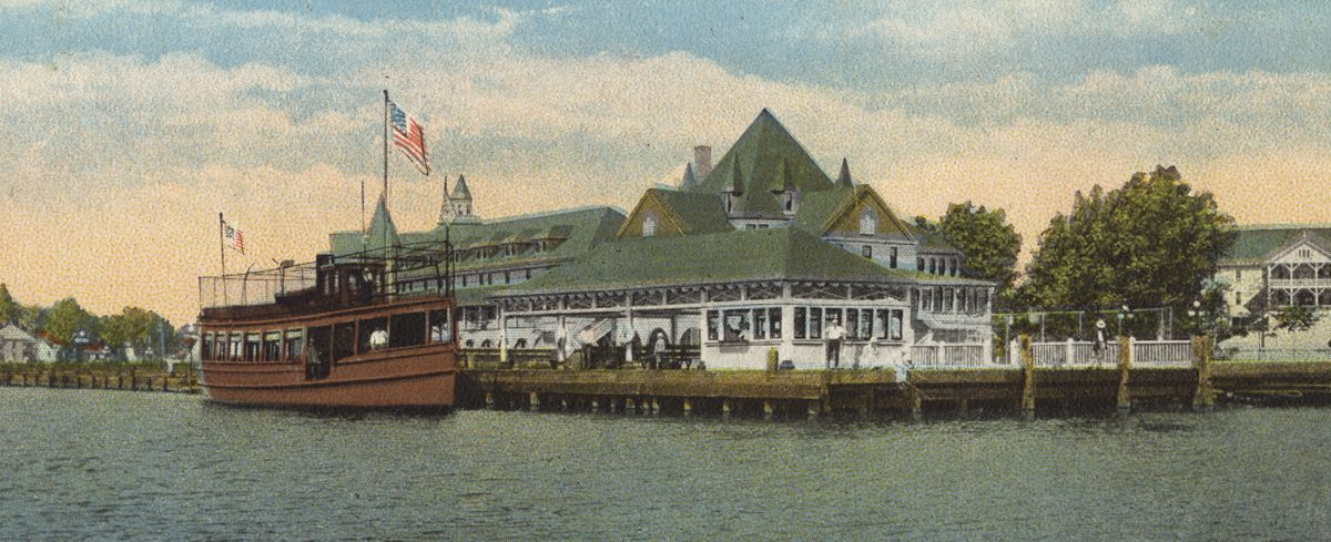 Hotel Ottawa and one of the small boats that plied Lake Macatawa carrying excursionists and day-trippers.